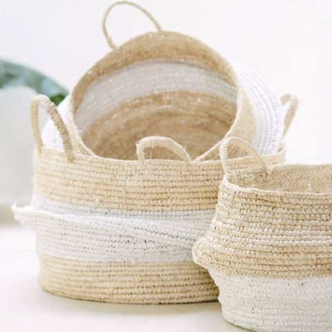 Raffia and Plastic Collapsable Baskets (set of 2): Alternate View #6