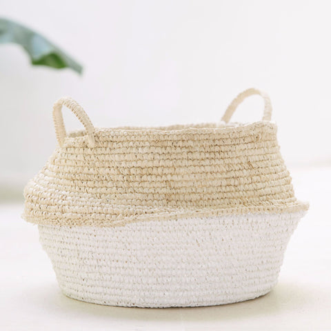 Raffia and Plastic Collapsable Baskets (set of 2): Alternate View #3
