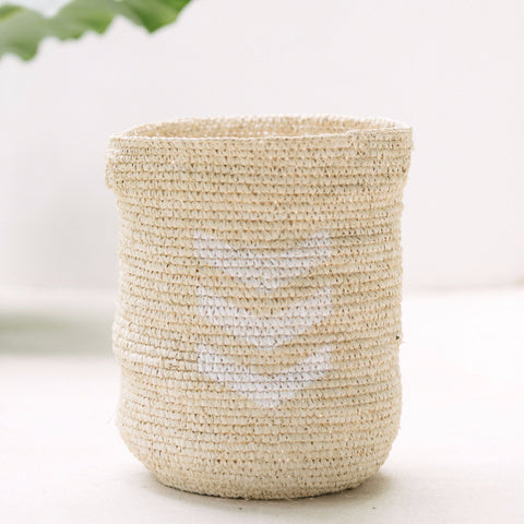 Chevron Raffia Storage Basket