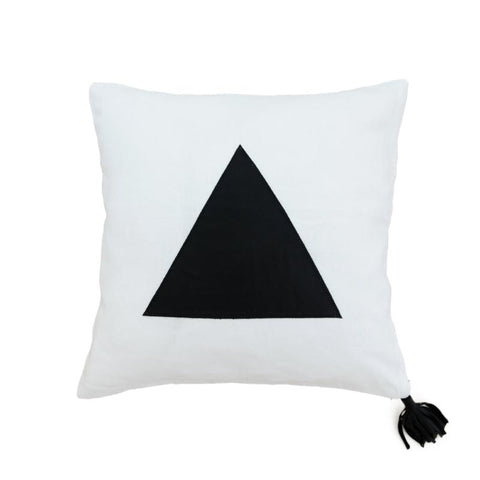 Black Leather & White Linen Cushion