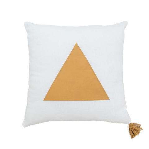Golden Tan Leather Triangle on White Linen Cushion
