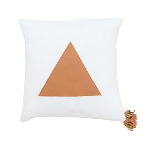 Tan Leather Triangle on White Linen Cushion