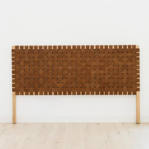 Bali Statement Leather Headboard Tan: Alternate View #2