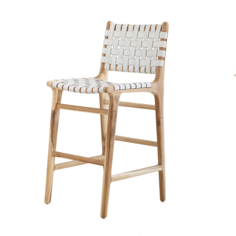 Bali Statement Bar Stool - White Leather