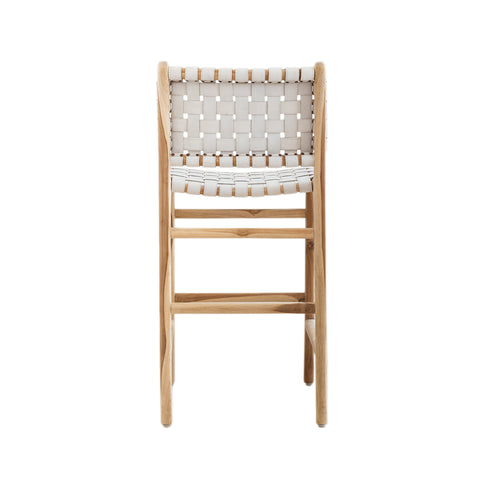 Bali Statement Bar Stool - White Leather: Alternate View #11
