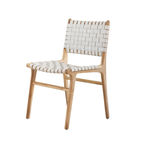 Bali Statement Dining Chair - White Leather