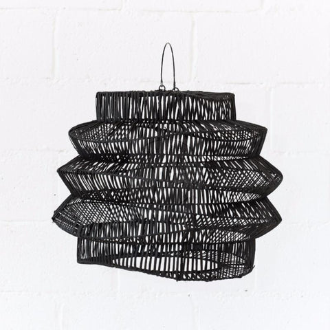 Geo Rattan Pendant Light Black