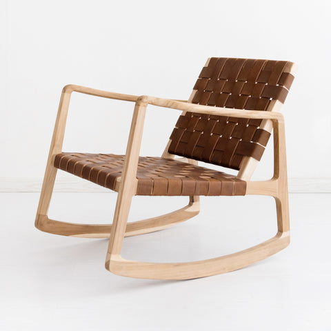 Brown Leather Beau Rocking Chair