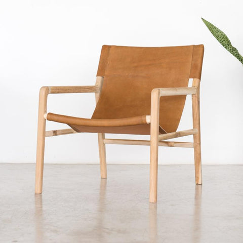 Tan slingback chair