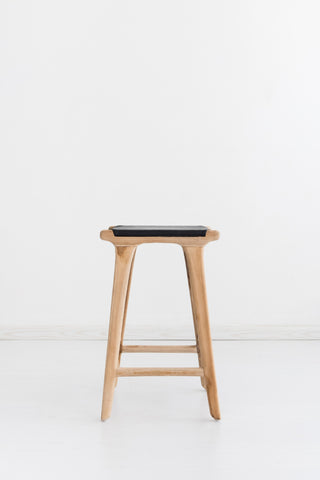 Bella Bar Stool - Black Leather: Alternate View #3
