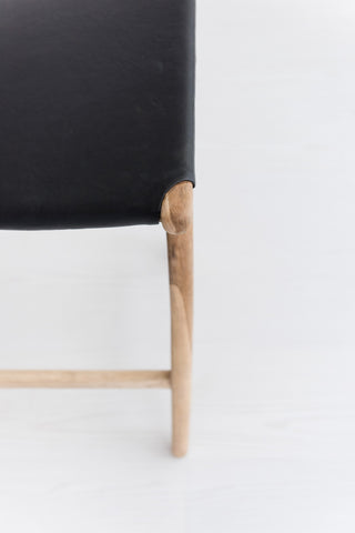 Bella Bar Stool - Black Leather: Alternate View #4