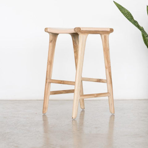 Bella Bar Stool - Blush Leather: Alternate View #5