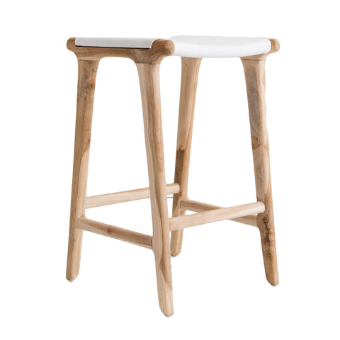 Bella Bar Stool - White Leather