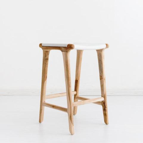 Bella Bar Stool - White Leather: Alternate View #2