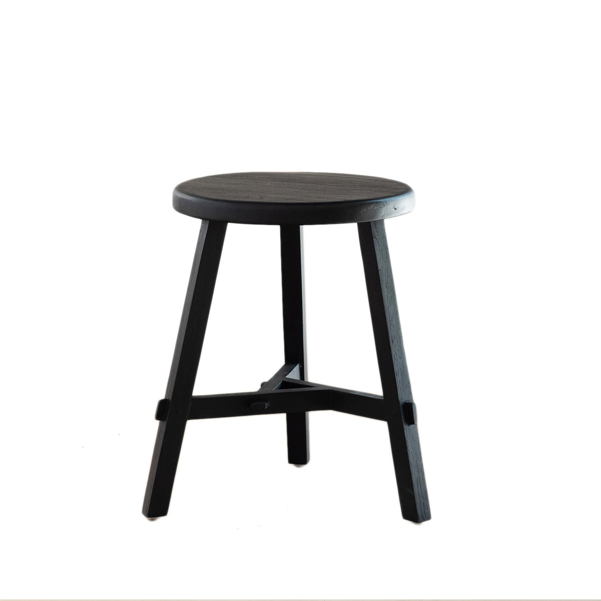Black Recycled Wood Stool