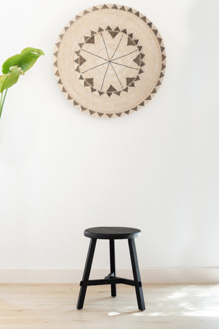 Black Recycled Wood Stool: Alternate View #2