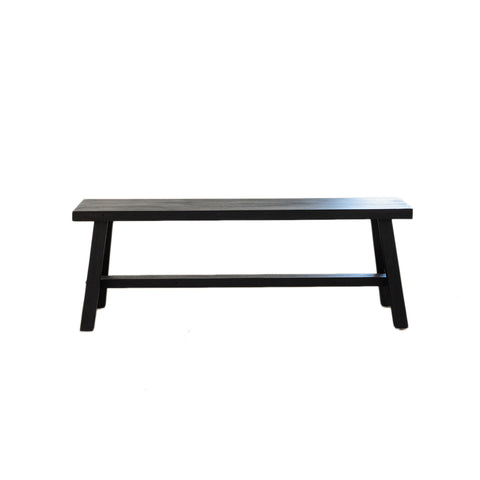 Black Recycled Wood Bench