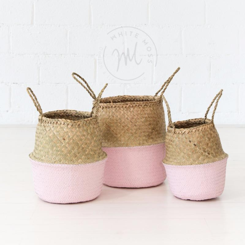 Seagrass Belly Basket Hint of Blush