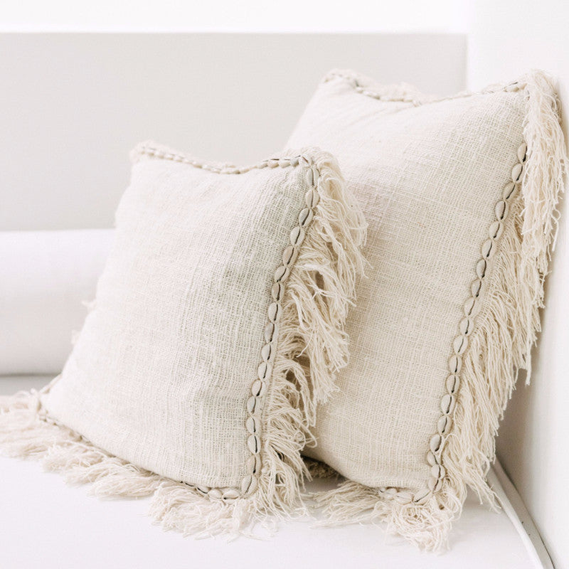 Oceana Shell and Fringe Cushion