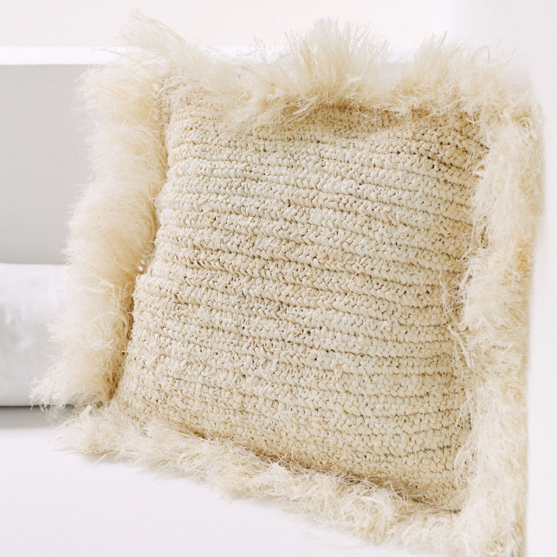 Raffia Island Throw Pillow with Fringe