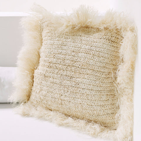 Raffia Island Throw Pillow with Fringe: Alternate View #1