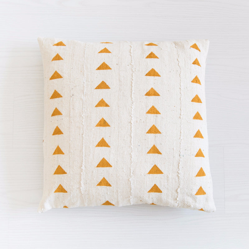 Mudcloth Cushion - Triangles Mustard Cushion