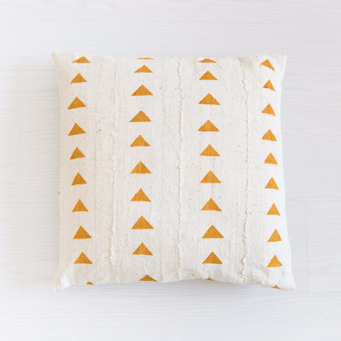 Mudcloth Cushion - Triangles Mustard Cushion: Alternate View #1