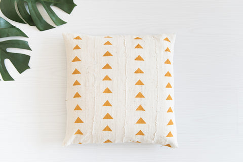 Mudcloth Cushion - Triangles Mustard Cushion: Alternate View #4