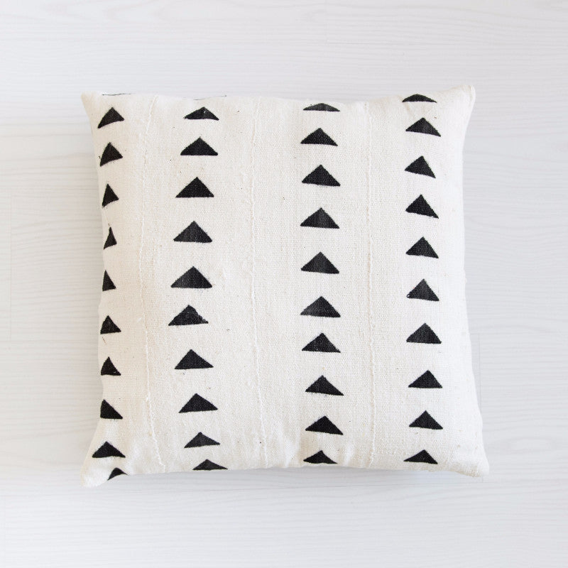 Mudcloth Cushion - Triangles Black