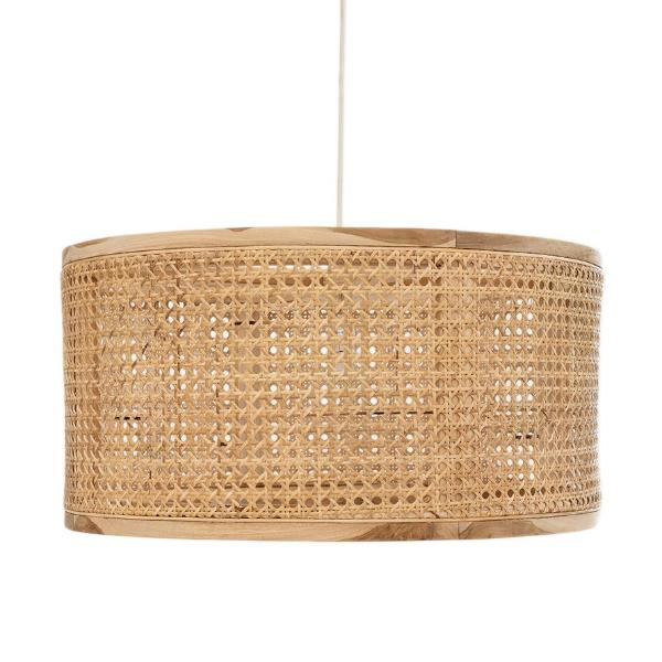 Cane and Wood Pendant Light
