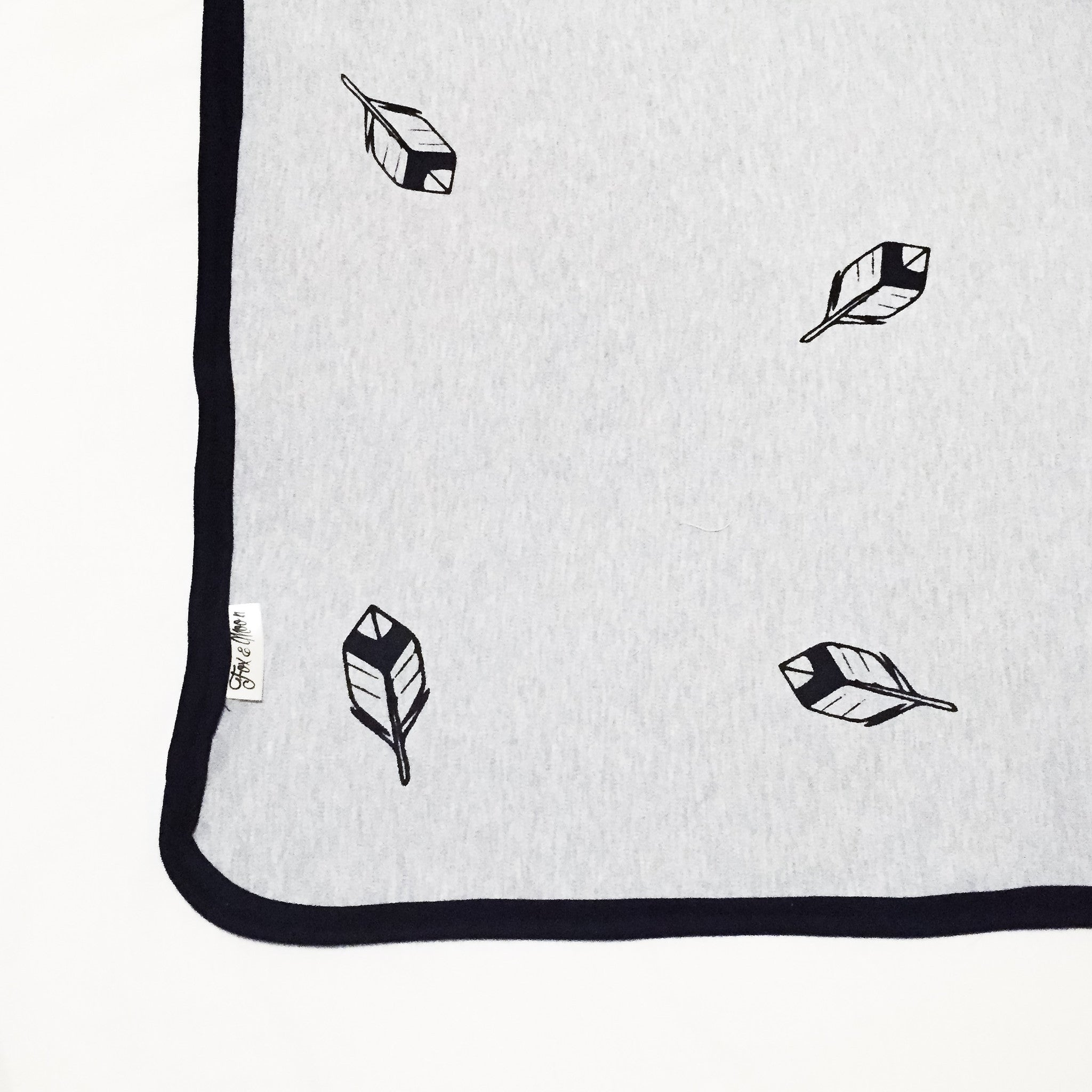 Cotton Knit Blanket - Grey with Feathers - Joba Collection
