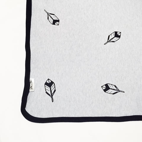 Cotton Knit Blanket - Grey with Feathers - Joba Collection: Alternate View #1