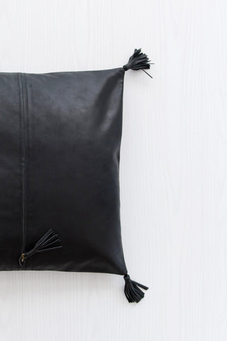 Full Leather Black Cushion: Alternate View #4