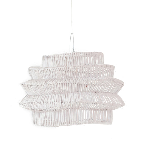 Geo Rattan Pendant Light White