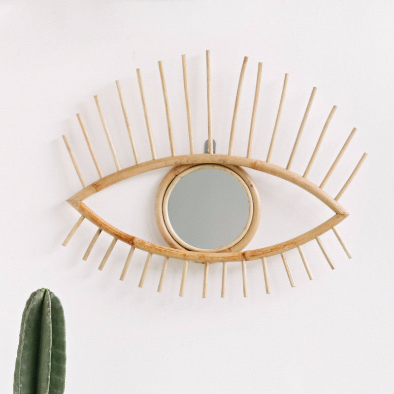 Open Eye Rattan Mirror