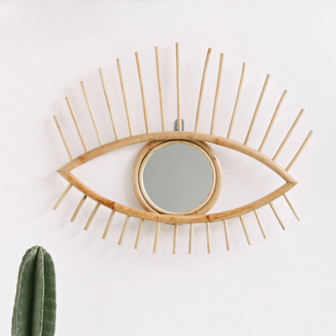 Open Eye Rattan Mirror: Alternate View #1