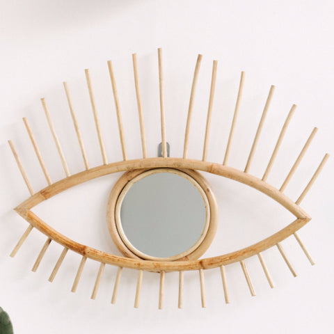 Open Eye Rattan Mirror: Alternate View #3