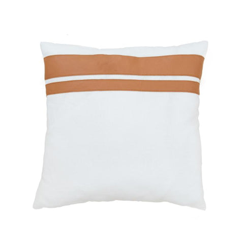 Tan Leather & White Linen Cushion