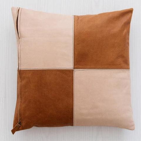 Half & Half Blush & Tan Leather Cushion: Alternate View #3