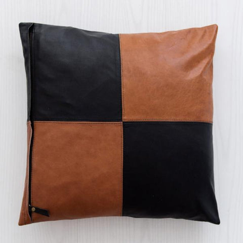 Half & Half Tan & Black Leather Cushion: Alternate View #3