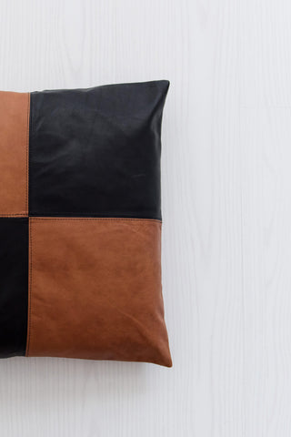 Half & Half Tan & Black Leather Cushion: Alternate View #4