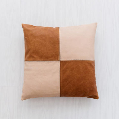 Half & Half Blush & Tan Leather Cushion: Alternate View #2