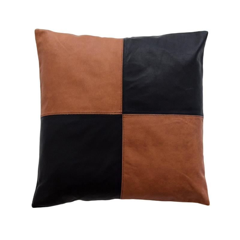 Half & Half Tan & Black Leather Cushion