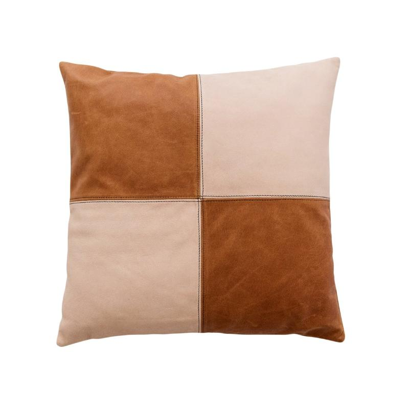 Half & Half Blush & Tan Leather Cushion