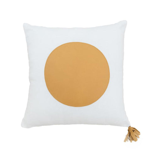 Golden Tan & White Linen Cushion with Tassel