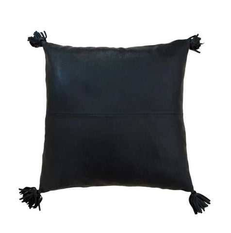 Full Black Leather Cushion with Tassels