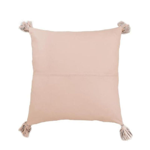 Blush Leather & Natural Linen cushion
