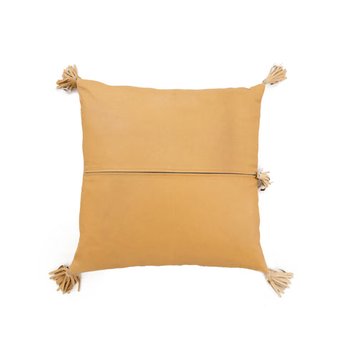 Full Leather Golden Tan Cushion: Alternate View #2
