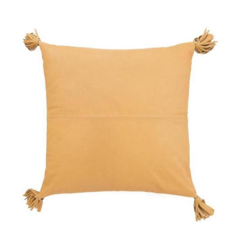 Golden Tan Leather Cushion with Tassels
