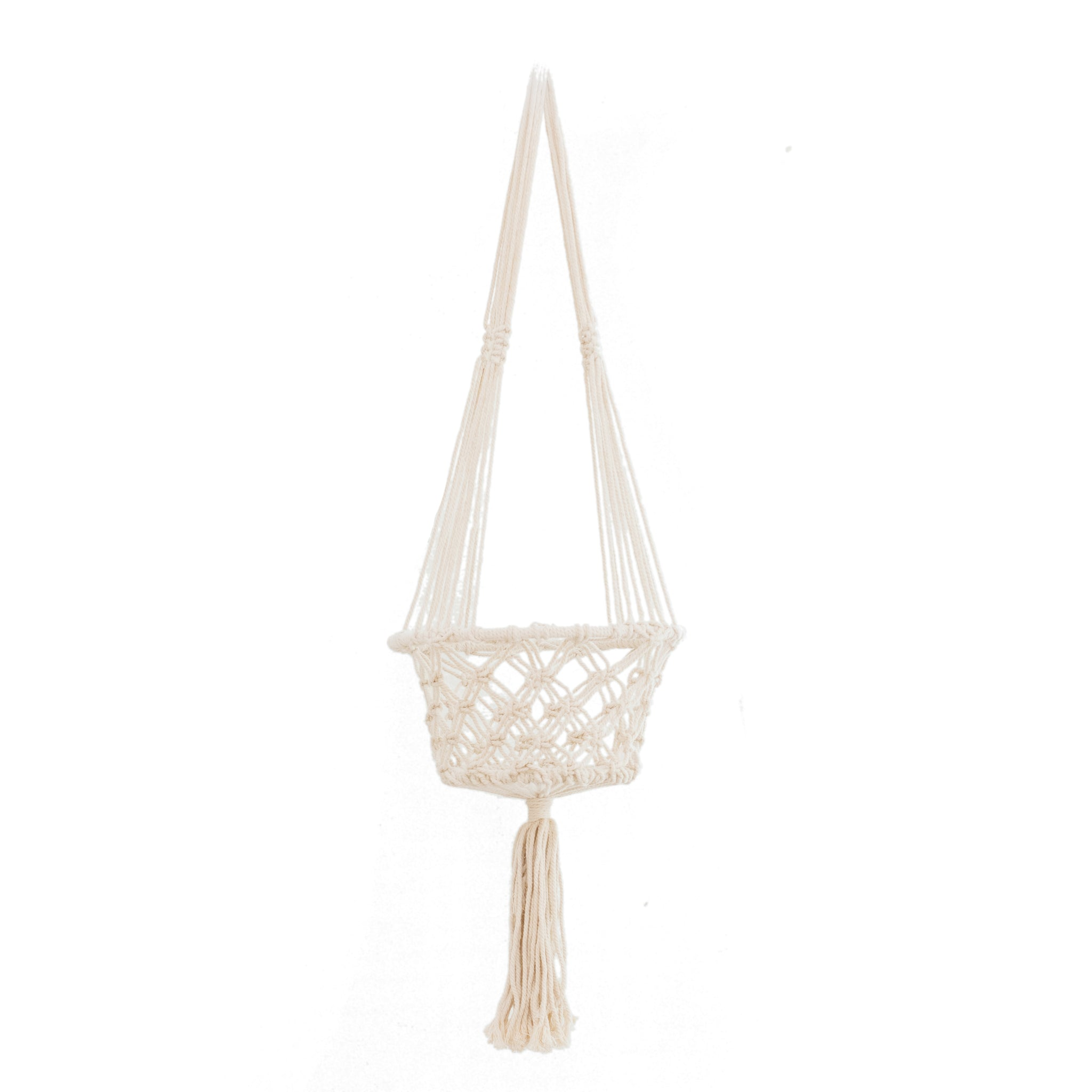 Macrame Hoop Planter Large Cream